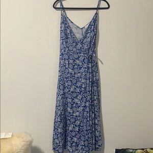 Linen blue floral wrap dress